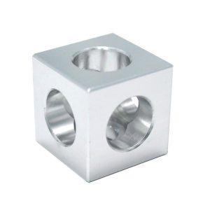 Hjørnebeslag 90º (cube). 20 X20 X20 MM. Hul 11 / 7,25. Aluminium